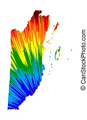 Belize - map is designed rainbow abstract colorful pattern