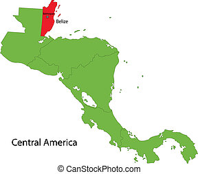Belize map - Location of Belize on Central America