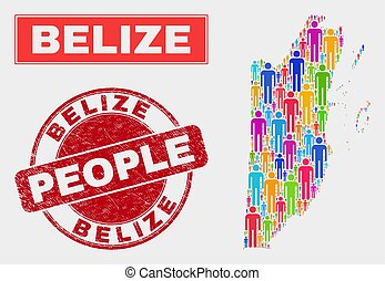 Belize Map Population People and Textured Stamp Seal