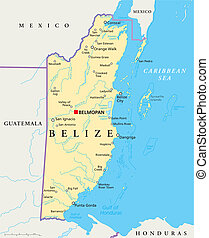 Belize Political Map - Political map of Belize with the...