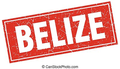 Belize red square grunge vintage isolated stamp