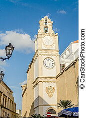 Bell and clock tower of Sant'Agata Cathedral, Gallipoli, Italy