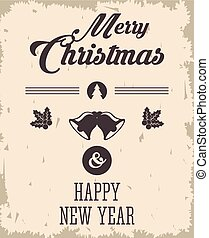 bell and leaves icon. Merry Christmas design. Vector graphic
