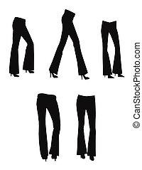 bell bottom jeans in silhouette set