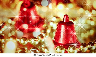 bell christmas decoration and stars seamless loop