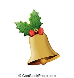 bell christmas decoration with bow ribbon and leafs