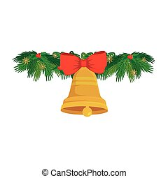 bell christmas decoration with bow ribbon in tropical leafs