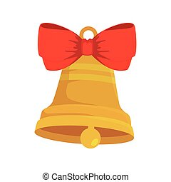 bell christmas decoration with bow ribbon isolated icon