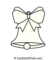 bell christmas decoration with bow ribbon line style icon