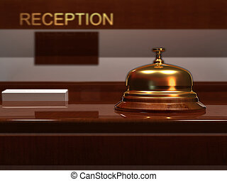 Bell - Close up of a golden bell - rendered in 3d