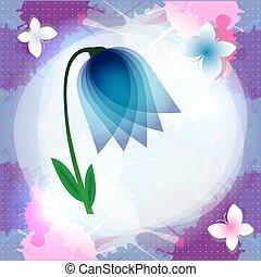 Bell flower, campanula card,  vector illustration.