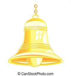 Bell from gilded metal on white background is insulated