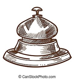 Bell from reception desk isolated sketch hotel staff equipment