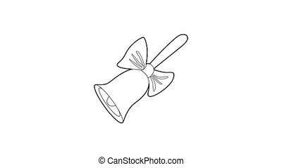 Bell icon animation best outline object on white background