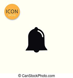 Bell icon isolated flat style.