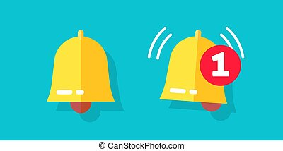 Bell icon or doorbell flat cartoon alarm symbol with alert notification as incoming message vector illustration, modern jingle ui element design isolated on blue color background image