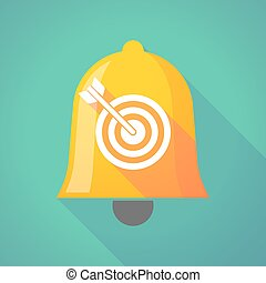 Bell icon with a dart board - Illustration of a long shadow...