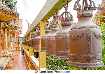 bell in tample - The bell hung in the temple, thailand