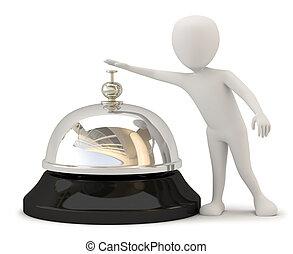 bell., mensen, hotel, -, kleine, 3d