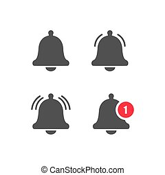 Bell notification sign set on a white background. Vector illustration EPS 10
