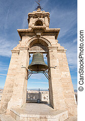 Bell on top of cathedral tower in Valencia