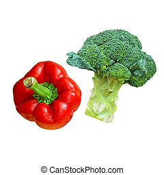 Bell pepper & broccoli, isolate on