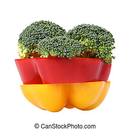 Bell pepper & broccoli on white background