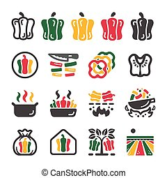 bell pepper icon set
