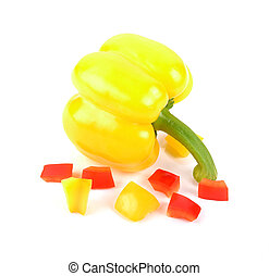 Bell pepper is cultivar group of the species Capsicum annuum, cultivars of the plant produce fruits in different color in picture show beautiful slice red and yellow bell pepper on white background.