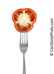 bell pepper on a fork