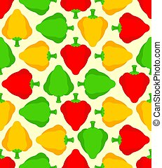 Bell pepper pattern seamless. Vegetable background. Colored peppers ornament. vector texture