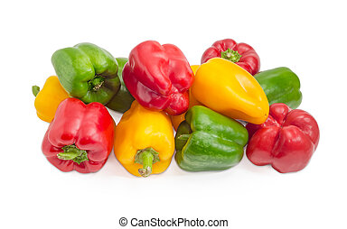 Bell peppers different colors on a white background