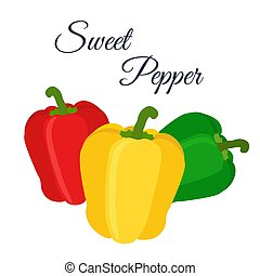Bell peppers - red, green, yellow. Made in cartoon flat style
