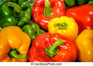 Bell Peppers - Yellow, green and red colorful bell peppers,...