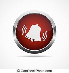 bell., resonante, botón, vector, rojo, illustration.