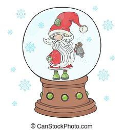 BELL SANTA Merry Christmas New Year Vector Illustration Set
