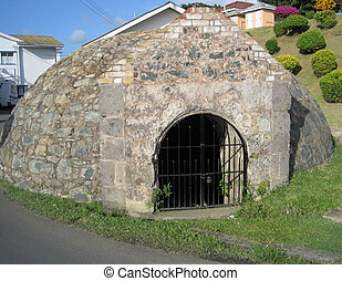 Large underground water cistern from the late 1700s supplied water for Fort King George on Tobago