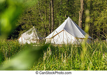 Bell tents outdoors at forest landscape - Two white bell ...