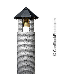 Bell Tower - A plain stone tower turret bell tower with a ...