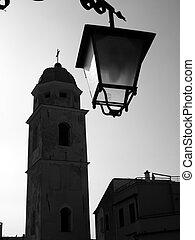 Bell tower and street lantern