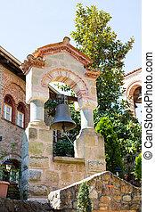 Bell tower at Great Meteoro Monastery in Meteora rocks, ...