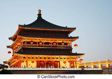 Bell Tower at night in Xi'an, China