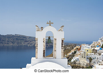 Bell tower in Oia village, Santorini island