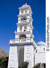 Bell tower of a greek orthodox church, Santorini
