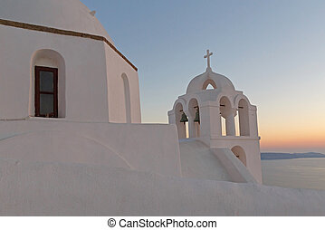 church in Fira at sunset