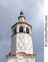 Bell tower of ancient Russian church in Totma
