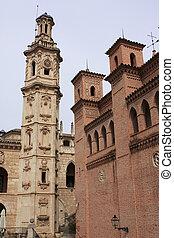 Bell tower of Baroque Valencian in Pueblo Espanol, Palma,...