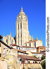Segovia - Bell tower of cathedral in Segovia, Spain