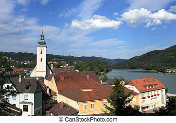 Bell tower of Grein cathedral, Austria