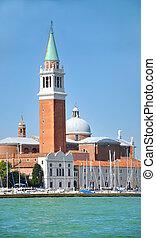 Bell tower of San Giorgio Maggiore Church in Venice, Italy